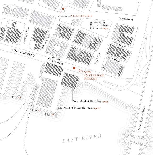 Map to the New Amsterdam Market
