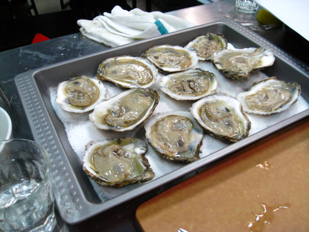 Shucked oysters, ready for some Rockefeller topping