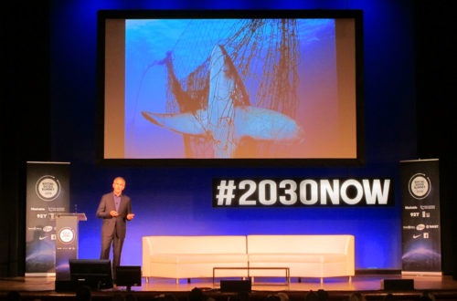 Brian Skerry, photographer for National Geographic, speaking at the Social Good Summit