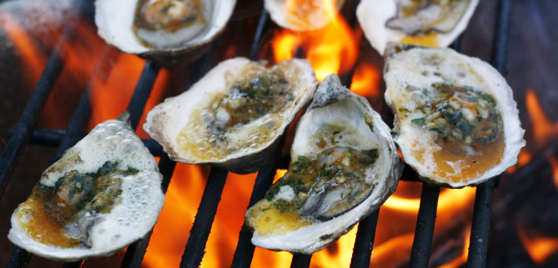 Grilled Oysters with Garlic Basil Butter